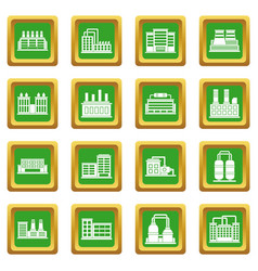 Industrial building icons set green vector
