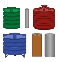 Industrial water tanks set vector