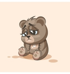 Isolated Emoji character cartoon Bear sad and vector