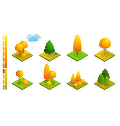 isometric colorful autumn trees set yellow orange vector image