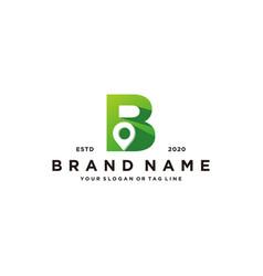 Letter b map pin logo design vector