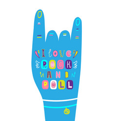 Lettering children poster i love rock and roll vector