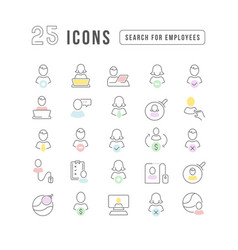 Line icons search for employees vector