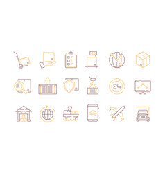 logistics icon collection container survey vector image
