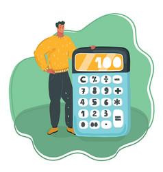 man showing a big green calculator vector image