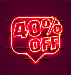 message neon 40 off text banner night sign vector image