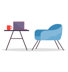 Modern cozy workplace flat design office chair vector