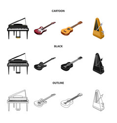musical instrument cartoonblackoutline icons in vector image