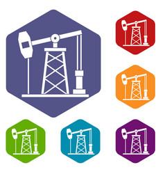 Oil derrick icons set hexagon vector