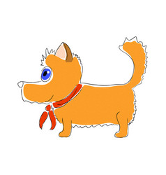 Orange dog with red tie on vector