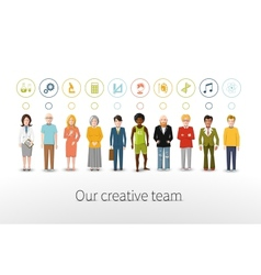 Our creative team of ten people with occupations vector image