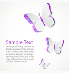 Paper butterfly presentation template vector image
