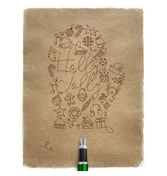 pen line drawing christmas tree toy glove craft vector image