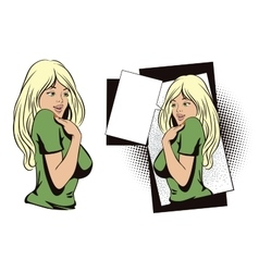 People in retro style Shy girl vector image