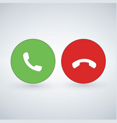 phone call icon set with green call out button vector image