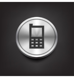 Phone icon on silver button vector image