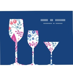 Pink flowers three wine glasses silhouettes vector