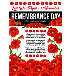Poppy remembrance day 11 november poster vector