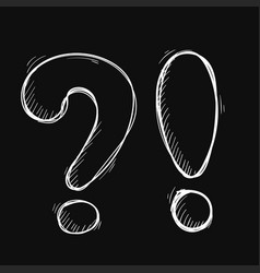 question and exlamation marks hand drawn white vector image