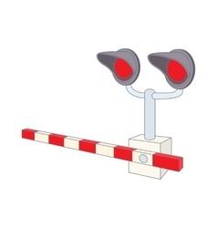 Railroad crossing icon cartoon style vector image