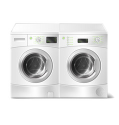Realistic front-load washer and dryer vector