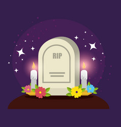 Rip with candles and flowers to day dead vector