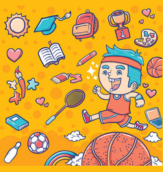 running boy with sport and education euipment vector image