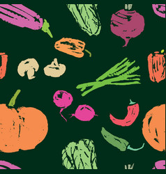 seamless background of vegetables sketches vector image