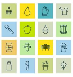 Set of 16 holticulture icons includes lantern vector