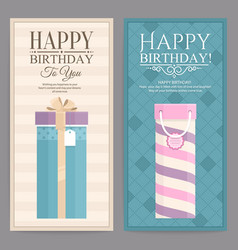 Set of two birthday card with gift boxes vector