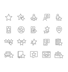 Set star feedback line icons customer review vector