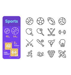 sports line icons set vector image
