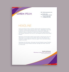 stylish purple wave letterhead design vector image