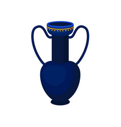 Tall blue jug with two handles antique vase vector