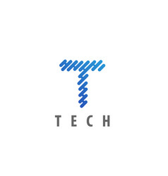 technology letter t icon logo design element vector image