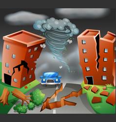 Tornado diaster town scene vector