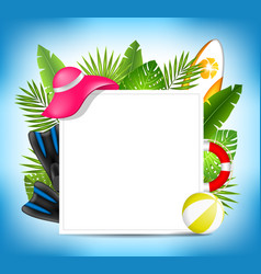 Tropical summer design card template with beach vector
