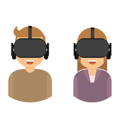 two people using virtual reality glasses for vector image
