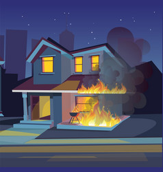 Two-storey house on fire vector