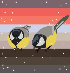 two titmouses under snow vector image