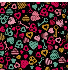 valentine background with hearts and keys vector image
