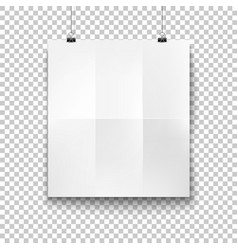 White blank hanging paper placard mockup vector