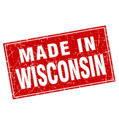 Wisconsin red square grunge made in stamp vector