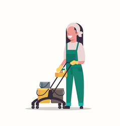 woman holding trolley cart with supplies female vector image