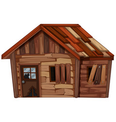 Wooden house in bad condition vector
