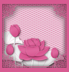 Abstract chinese square frame with floral pink vector