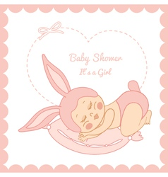 Baby shower little sleeping girl in a bunny costum vector image