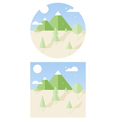hipster landscape flat style vector image vector image