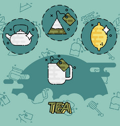 tea flat concept icons vector image