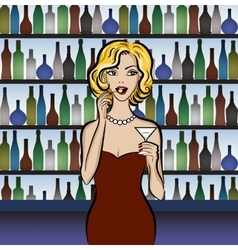 woman drinking martini vector image